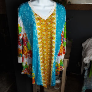 Multiples V Neck Open Sleeves Tunic Long Top M